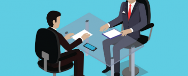 Vector image of interview coach talking with an interviewee