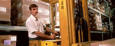 A forklift operator using one.