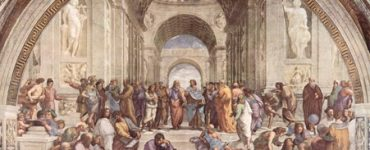 """A Painting Named """"The School of Athens"""" Depicting Several People Under the Domed Ceiling of the Same"""