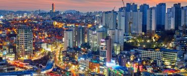 aerial night view of Seoul City