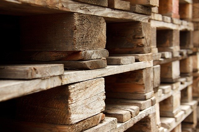 Closeup of wooden pallets.