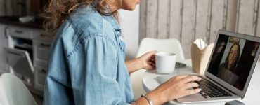 A woman having online counseling for depression