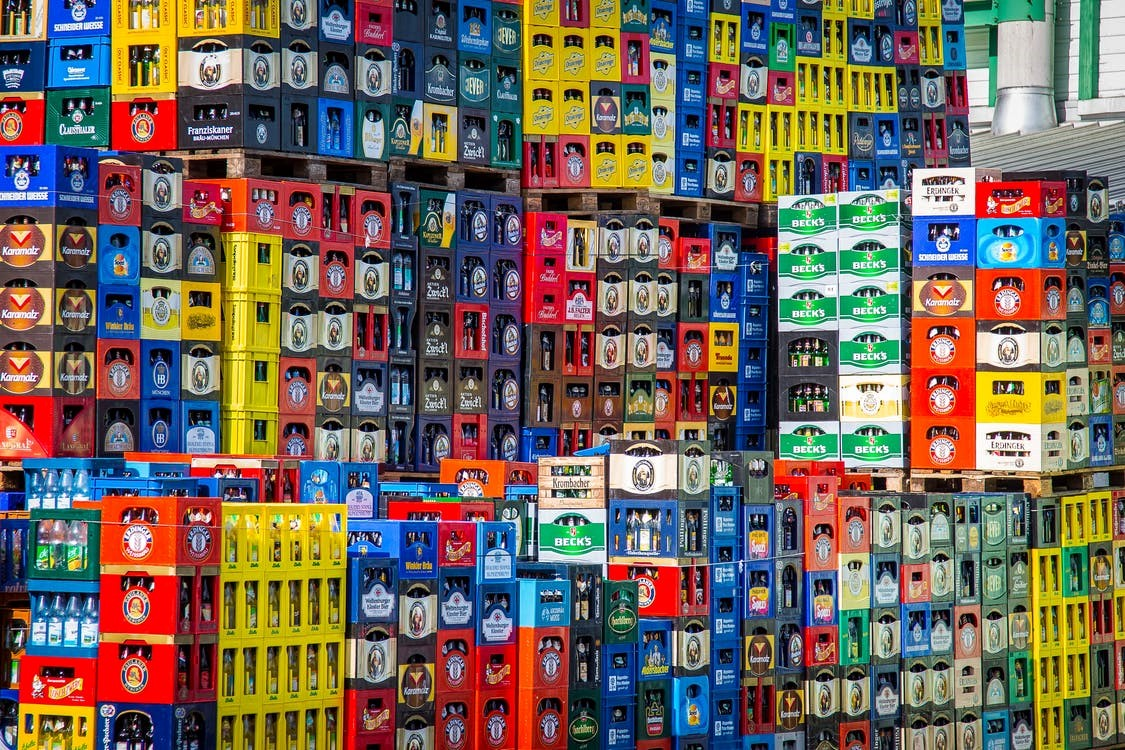 stocks of alcohol in a warehouse