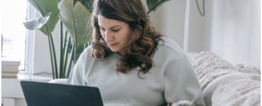 A woman operating an online business