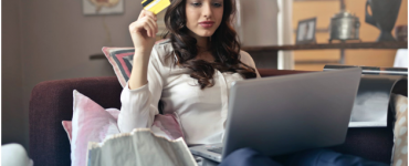 A woman shopping online